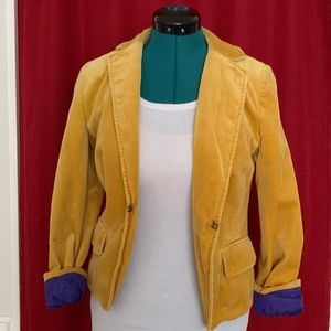 J. Crew Mustard Yellow Velvet Blazer